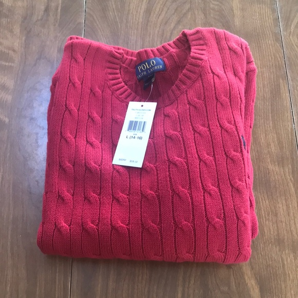 Polo by Ralph Lauren Other - Polo Ralph Lauren NWT Red Cable Knit Sweater